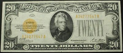 1928 $20 Twenty Dollar Gold Certificate Note - FR#2402