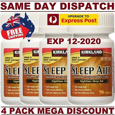 Kirkland Sleep Aid Doxylamine Succinate 25mg 4 Bottles 384 Tablets AU STOCK!
