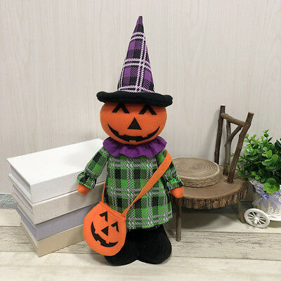 Halloween Extendable Doll Display Cute Pumpkin Witch Doll Decorative Supplies