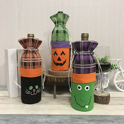 Halloween Witch Pumpkin Cat Decoration Bottle Set Festival Red Wine Bag Handmake