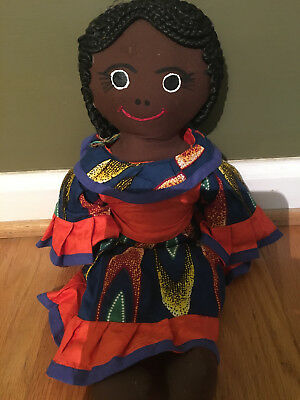 Ghana doll Africa soft doll braided hair colorful clothing