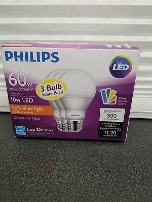 Philips Dimmable Efficient 10W A19 Soft White 60W Replacement LED Light 3 pack ✅