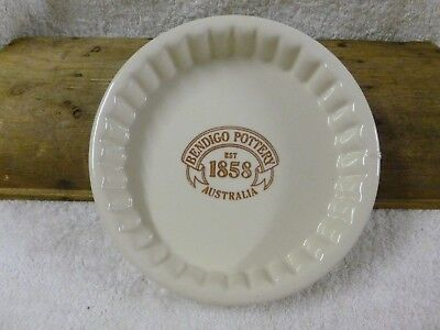 Bendigo Pottery 1858 Australia Cream and Brown Pie Dish Fluted Sides*EC