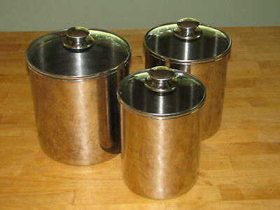 6pc Stainless Steel Canister Set Wairtight Glass Lids 525 7 Diam