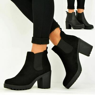 cbc1c72ee6f45 Ladies Womens Ankle Chelsea Boots Chunky Block Heels Platform Shoes Size Uk  3-8