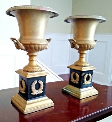 Pair of Neo-Classical Style Mantel or Clock Garniture Urns - Mid 20th Century