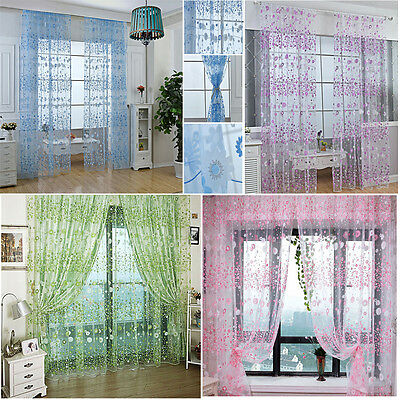 5 colors Tulle Door Window Floral Curtain Drape Panel Voile Valances Scarf Sheer