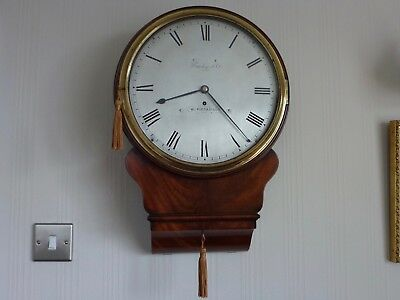 Early Brass  Silvered Drop Dial Fusee Wall Clock In Mahogany  C1810-15
