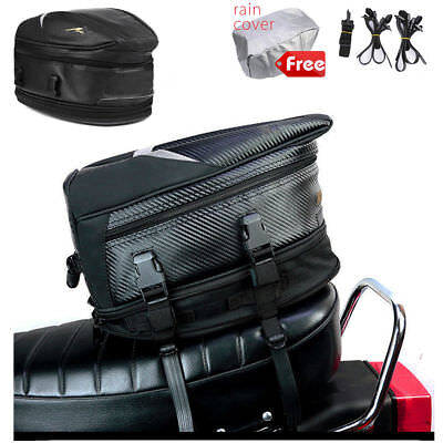 Waterproof Motorcycle Riding Touring Rear Tail Seat Package Bag Expandable Carry