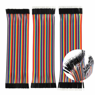 40 Pcs Dupont Cables M-F M-M F-F Jumper Breadboard Wire Conduit GPIO Ribbon UK