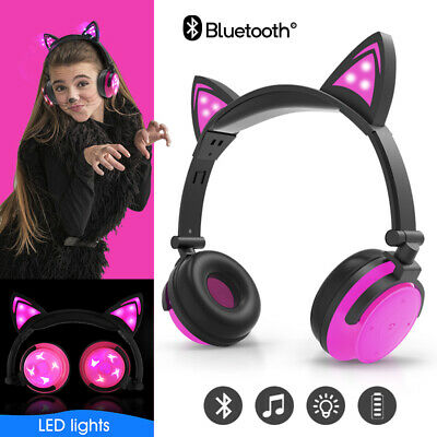 Kid Wireless Bluetooth Headphone Cat Ear LED Light HIFI Stereo Foldable AUX Gift