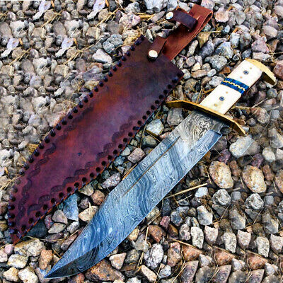 """TheBoneEdge 16.5"""" Damascus Blade Horn Handle Hunting Knives with Leather Sheath"""