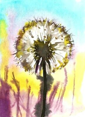 ACEO original dandelion painting flowers painting floral art abstract card sign