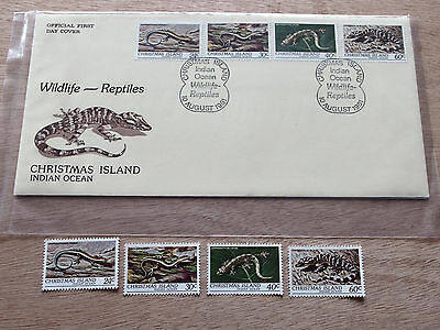 Christmas Is  1981  Wildlife Reptiles 24c,30c,40c & 60c MNH stamps + FDC