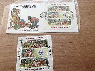 CHRISTMAS IS - 1984 Ausipex, Christmas -mint mini sheet, MNH + FDC