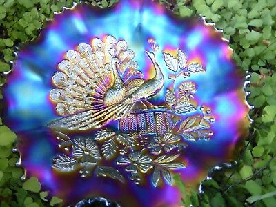 """Elegant!   """"Peacock On The Fence Carnival Glass   Bowl."""