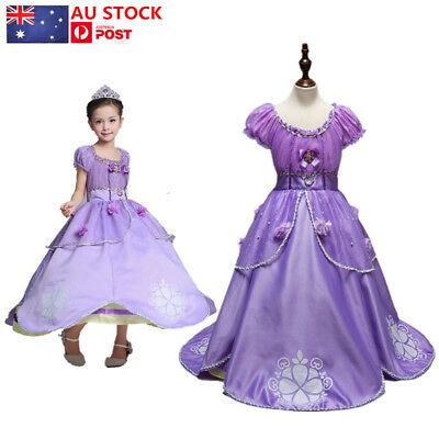AU Kid Girls Princess Dress Sofia The First Fancy Party Dress Up Cosplay Costume