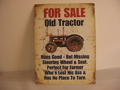 "Farm Sign John Deere Case Oliver IH Used Tractor 24""x18"" Metal Hanging Sign"