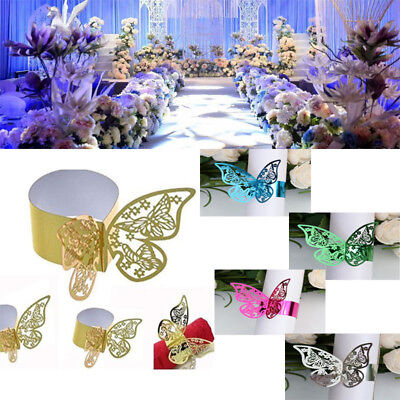 10Pcs Laser Cut Paper Butterfly Napkin Ring Holder Wedding Party Table Decor