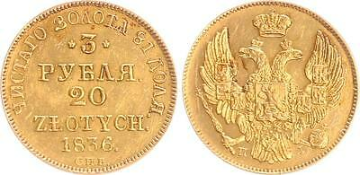 Russia/Poland 3 Ruble/20 Zlotych 1836 Gold XF+