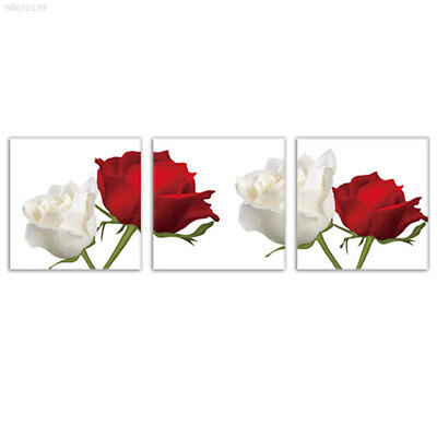30C1 Red White Rose Oil Painting Wall Picture 3 Panels Unframed Wedding Decor
