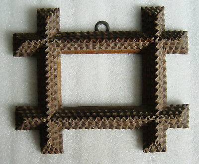 antique German carved wooden 4-layer Tramp Art photo frame c. 1880