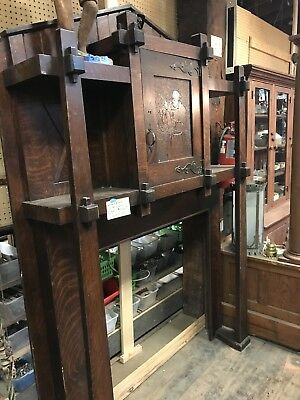 Antique Monk Face Arts And Craft Fireplace Mantel