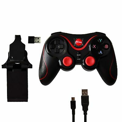 Bluetooth Wireless Controller with Phone Holder for PS3 iOS Android PC Black