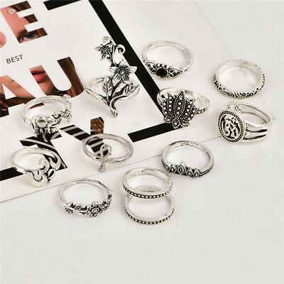 Joint Ring Set New Popular Ancient Silver Bohemian Female Rose Elephant Cross HO