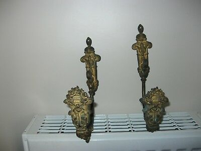 Pair of Large Antique French Gilt Bronze Curtain  Wall Hooks / Tie Back
