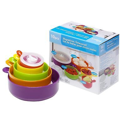 10pc Microwave Food Bowl Coloured Set With Lids Cook Pot Pan Storage Containers