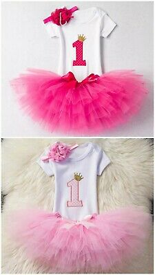 Baby Girls 1st Birthday Tutu Skirt Princess Dress First Cake Smash Prop Outfit