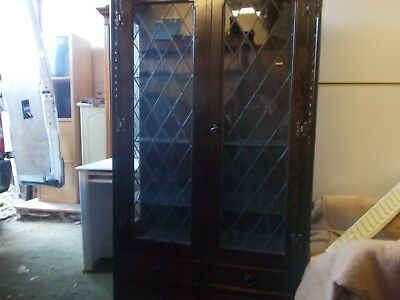 A Jaycee Leaded Glass Bookcase