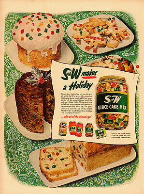 1950 vintage Ad, S and W Glace Cake Mix, Christmas Cookies and Cake -110713