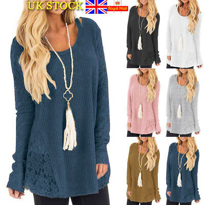 Plus Size Womens Long Sleeve Shirt Autumn Loose Top Blouse Thin Sweater Jumper