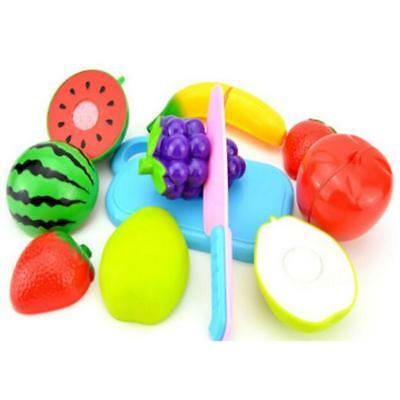 Child Role Play Pretend Kitchen Fruit Vegetable Food Toy Cutting Set Kids Gift