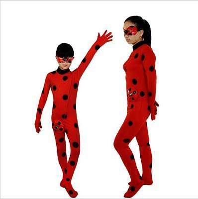 women Miraculous Ladybug Fancy Dress Cosplay Costume Mask Bag Jumpsuit Tight