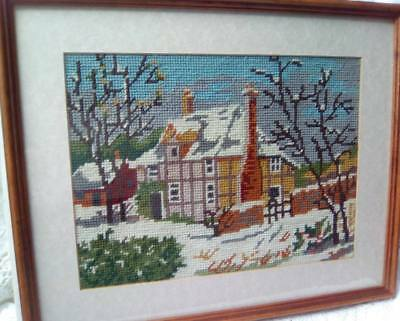Winter Scene Needlepoint Completed Unframed