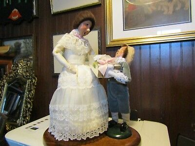 "131/2"" t BYERS CHOICE LTD MOTHERS DAY FIGURINE W/ LITTLE BOY WOODEN BASE 1988"