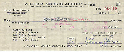"""James Baldwin-Rare Signed Check 1975 - Author,poet """"go Tell It On A Mountain"""""""
