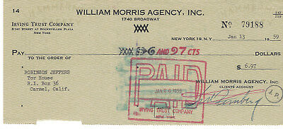 Robinson Jeffers, Poet,-Rare Authentic Signed Check 1959 - Sent To Tor House  -