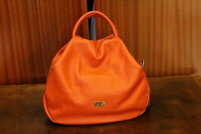 e9bf1ca876 VERSACE 19.69 Women s 100% Leather Orange Handbag NMade in Italy with Tags