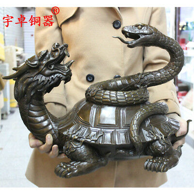 "19"" China old antique bronze copper xuanwu dragon turtle snake Statues"