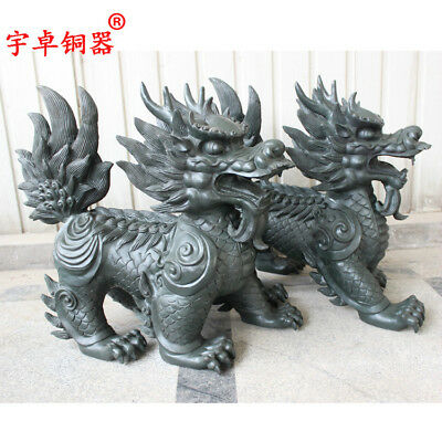 "28"" A pair China antique bronze copper Walking kylin Animal Statues Collection"