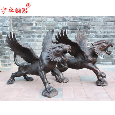 "28"" A pair China antique bronze copper Tiger With wings Statues Collection"
