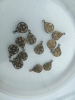 Vintage M. Haskell Bras Open Scroll Filigree Pear Tear Drop Shape Stamp Charms