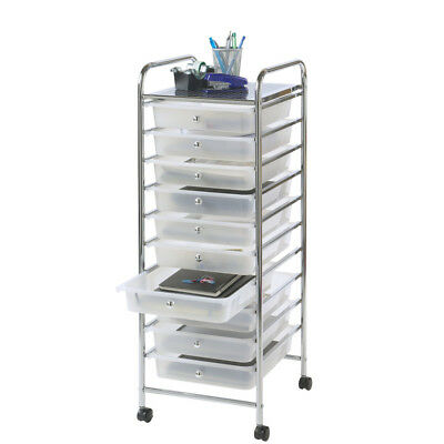 10 Drawer Storage Trolley Portable Utility Unit Chest With Pull Out Draw