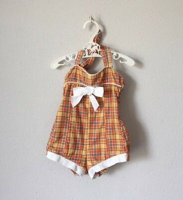 Vintage 1950s Girls 50s 60s Rumba Ruched Back Swim Sun Suit Orange Plaid 24 Mos