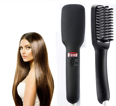 Electric Hair Straightener Brush Comb LCD Ion Anti-Scald Auto Massager