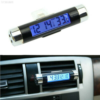 EE49 New 2in1 Car LCD display Clip-on Digital Backlight Thermometer Clock meter